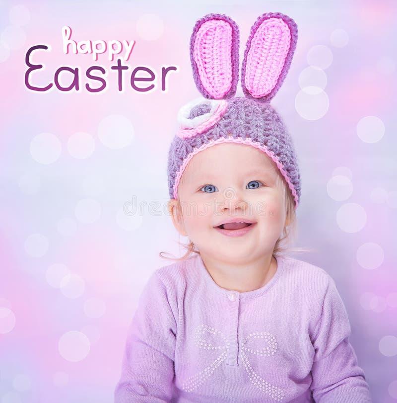 逗人喜爱的婴孩复活节兔子 图库摄影