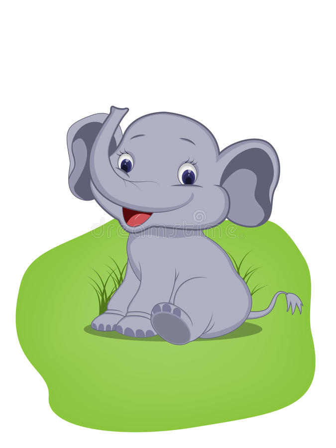 逗人喜爱的婴孩大象坐草 图库摄影