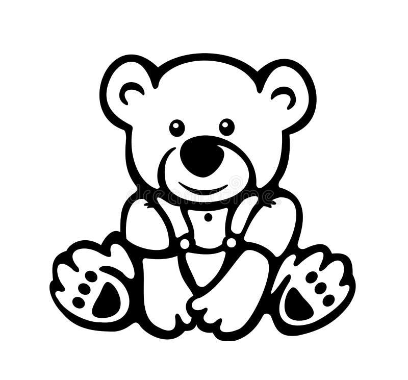 逗人喜爱的婴孩熊剪影传染媒介。 库存例证