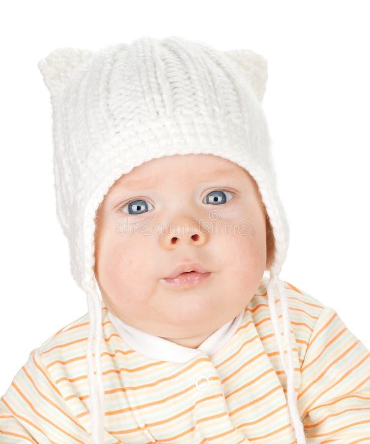 逗人喜爱的婴孩特写镜头画象  免版税库存照片