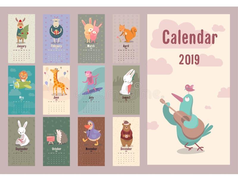 逗人喜爱的2019年传染媒介计划者illustr的动物减速火箭的日历 库存例证