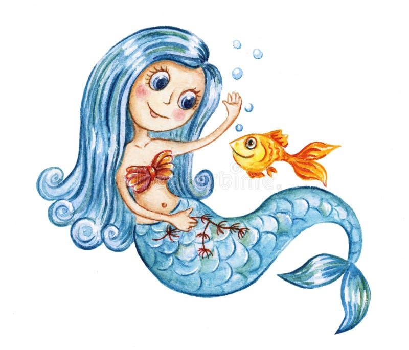 逗人喜爱的水彩美人鱼和金鱼 向量例证