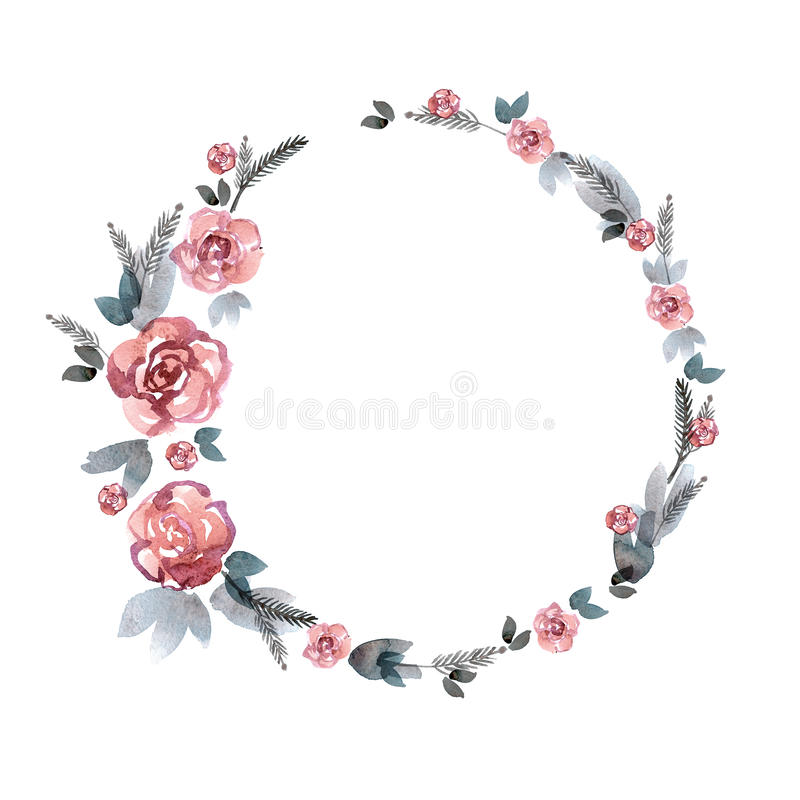 逗人喜爱的水彩花框架 背景桃红色玫瑰 皇族释放例证