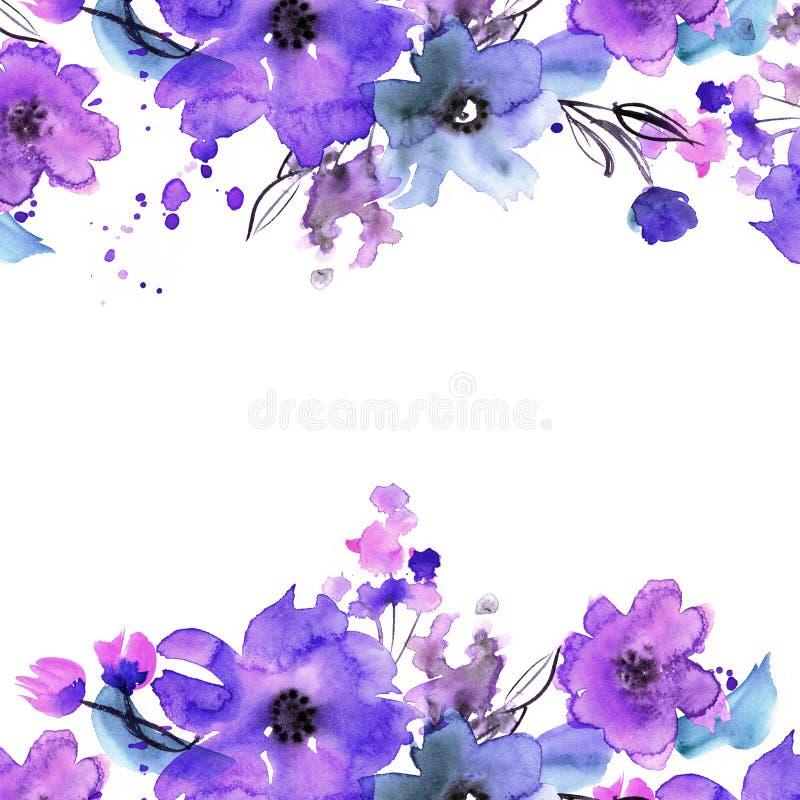 逗人喜爱的水彩花框架 皇族释放例证