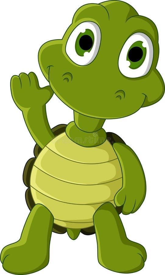 逗人喜爱的绿海龟动画片 库存例证
