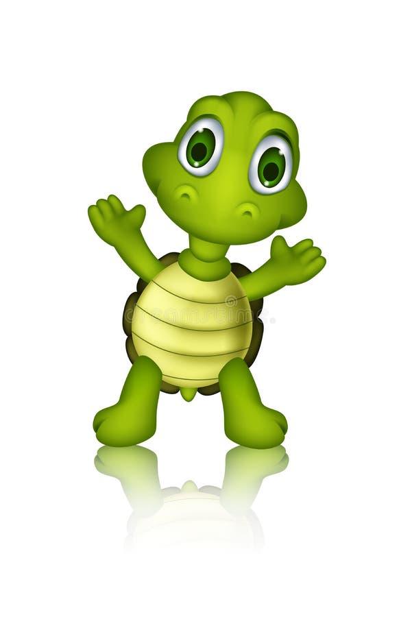 逗人喜爱的绿海龟动画片 向量例证