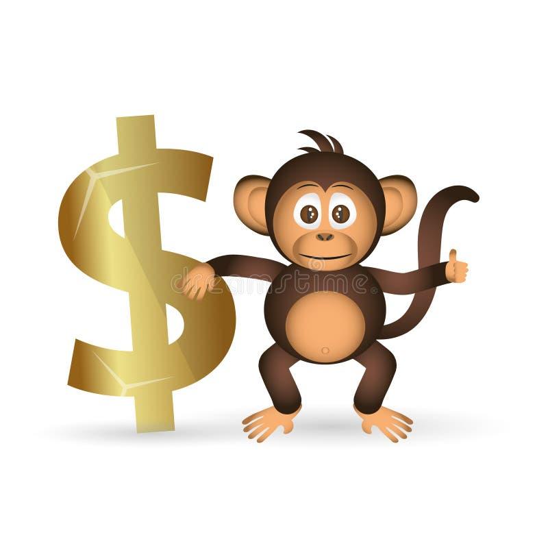 逗人喜爱的黑猩猩小的猴子和美元标志 皇族释放例证