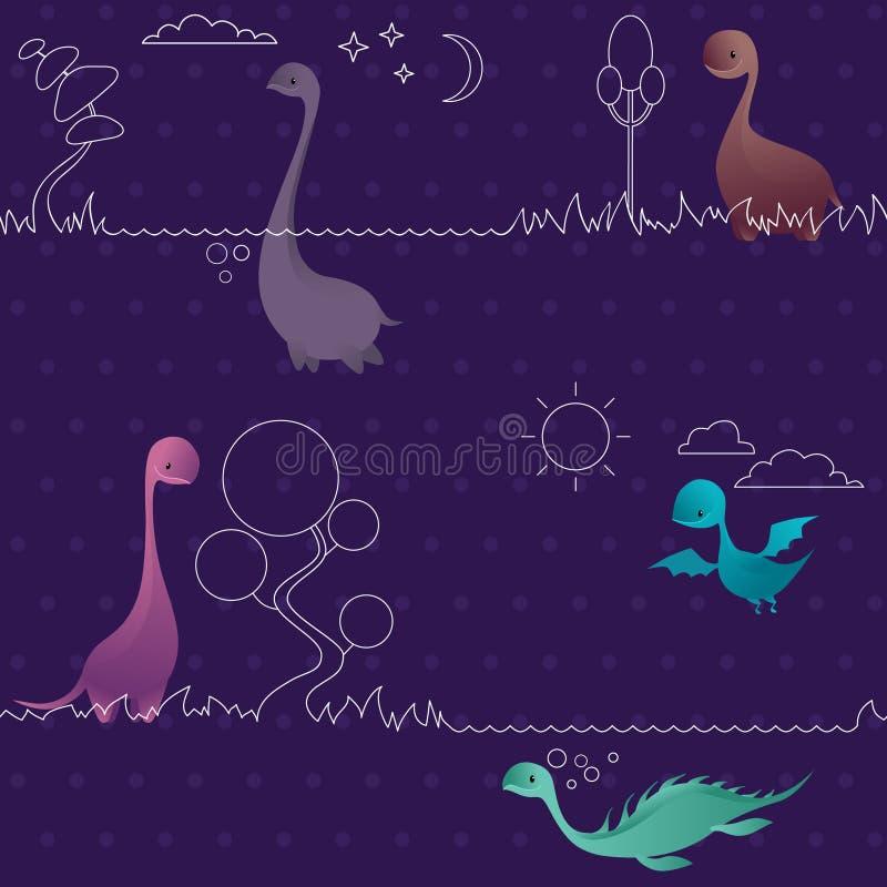 逗人喜爱的滑稽的可爱的迪诺无缝的样式 恐龙 皇族释放例证
