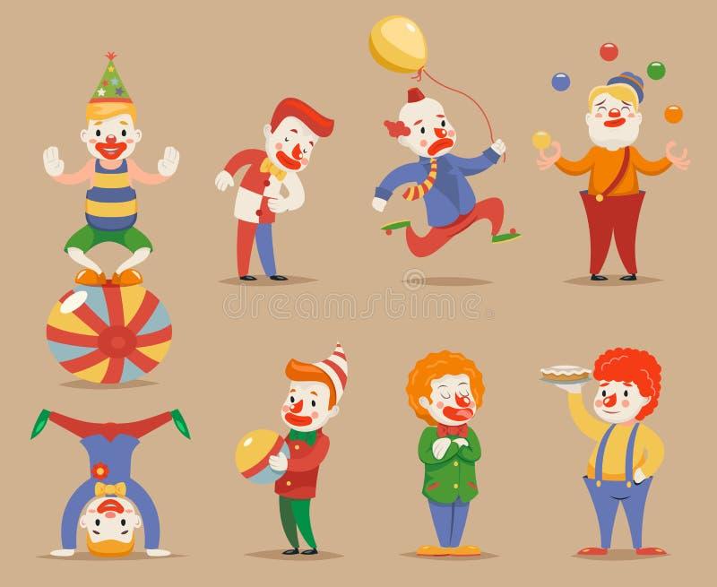 逗人喜爱的滑稽的小丑不同的位置和行动字符象被设置的减速火箭的动画片设计传染媒介例证 向量例证