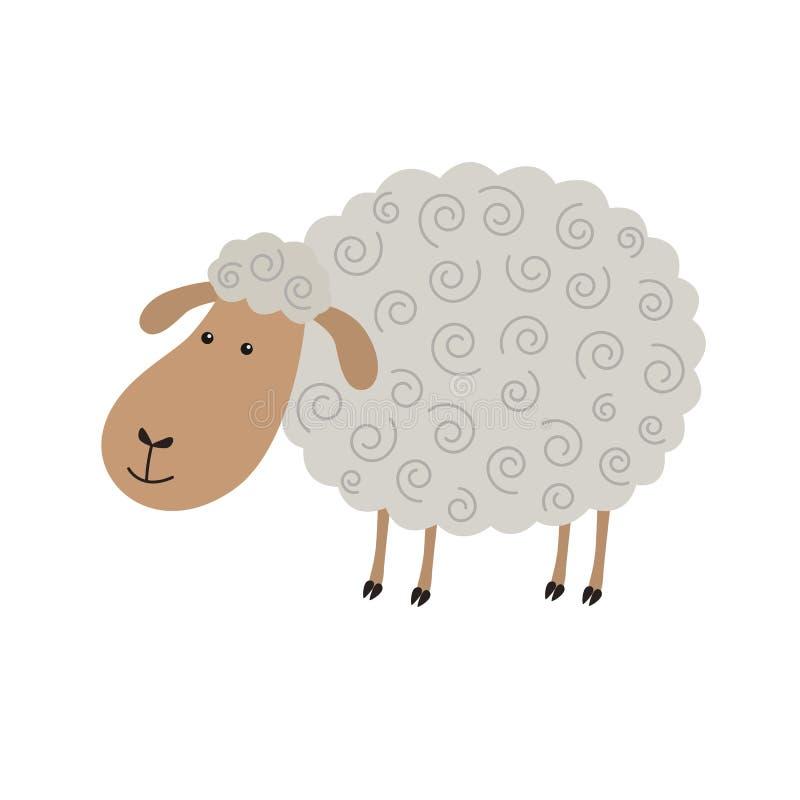 逗人喜爱的绵羊动画片 向量例证