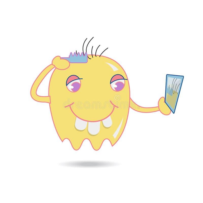 逗人喜爱的黄色动画片刷子他的头发通过看在镜子 库存例证