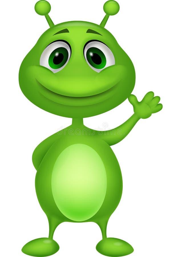逗人喜爱的绿色外籍人动画片 库存例证