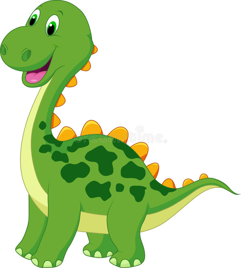 逗人喜爱的绿色恐龙动画片 皇族释放例证