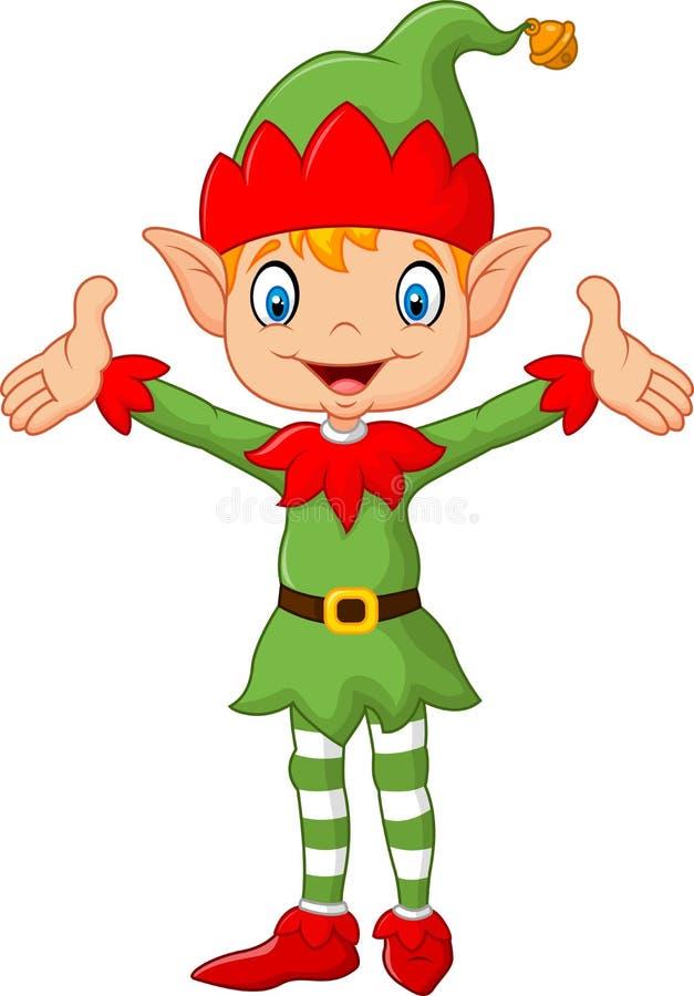 逗人喜爱的绿色矮子男孩服装递  背景查出的白色 库存例证
