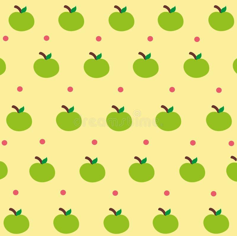 逗人喜爱的绿色苹果墙纸 库存例证