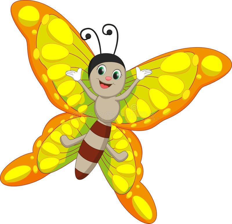 逗人喜爱的蝴蝶动画片 皇族释放例证