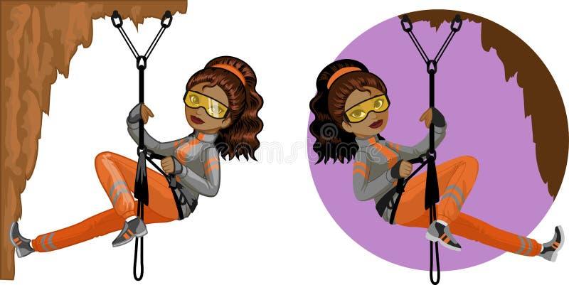 逗人喜爱的年轻非裔美国人的妇女登山家 皇族释放例证