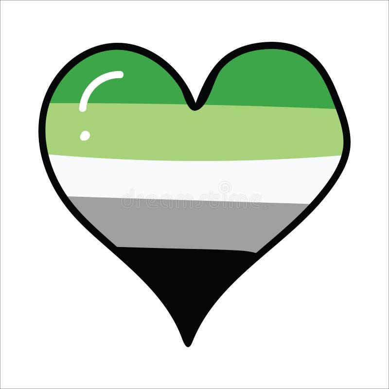 逗人喜爱的aromantic心脏动画片例证主题集合 LGBTQ博克的手拉的被隔绝的自豪感旗子元素clipart,爱 向量例证