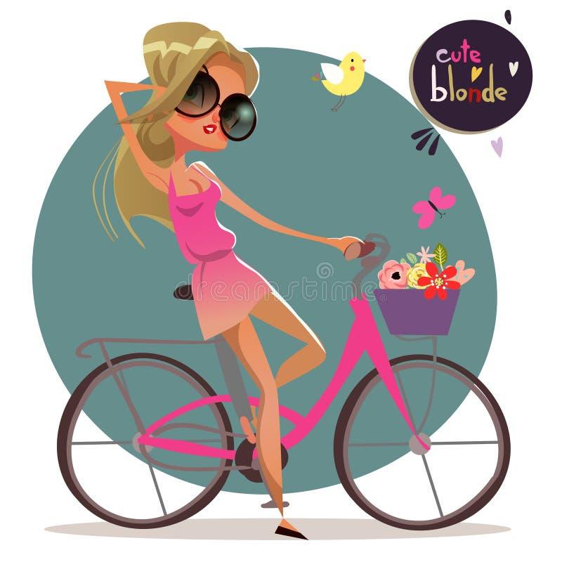 逗人喜爱的bycicle的动画片白肤金发的女孩 库存例证
