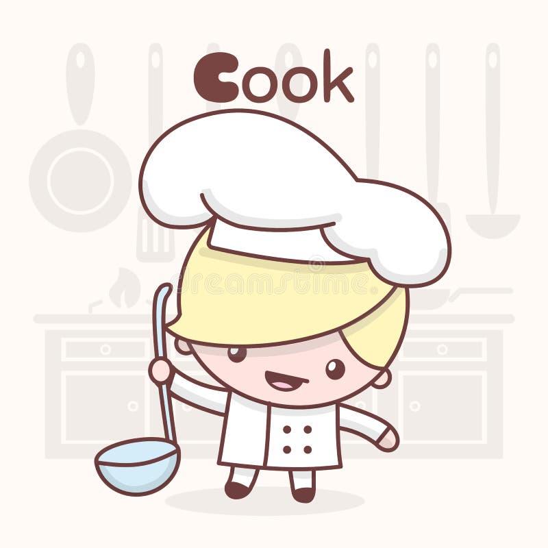 逗人喜爱的chibi kawaii字符 字母表行业 信件C -厨师 皇族释放例证