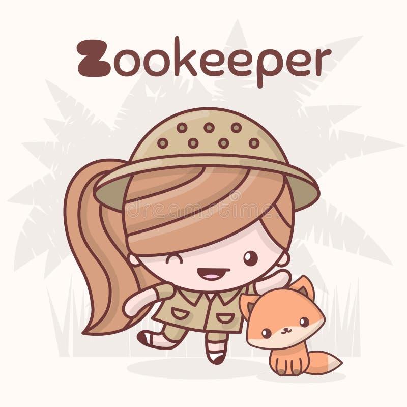 逗人喜爱的chibi kawaii字符 字母表行业 信件Z - Zookeep 库存例证