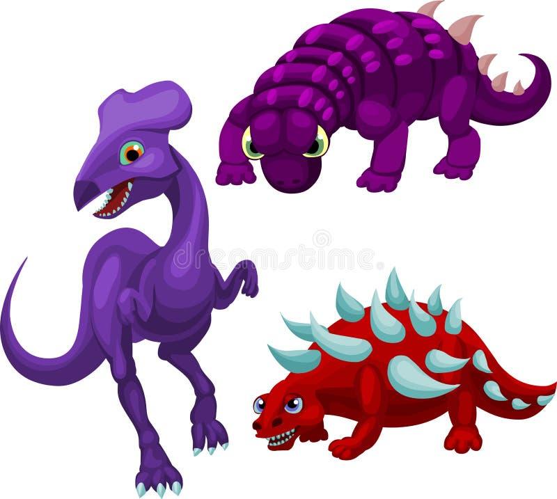 Download 逗人喜爱的dino三 向量例证. 插画 包括有 镇痛药, 图象, 向量, dino, 种类, 爬行动物, 紫罗兰色 - 22354948