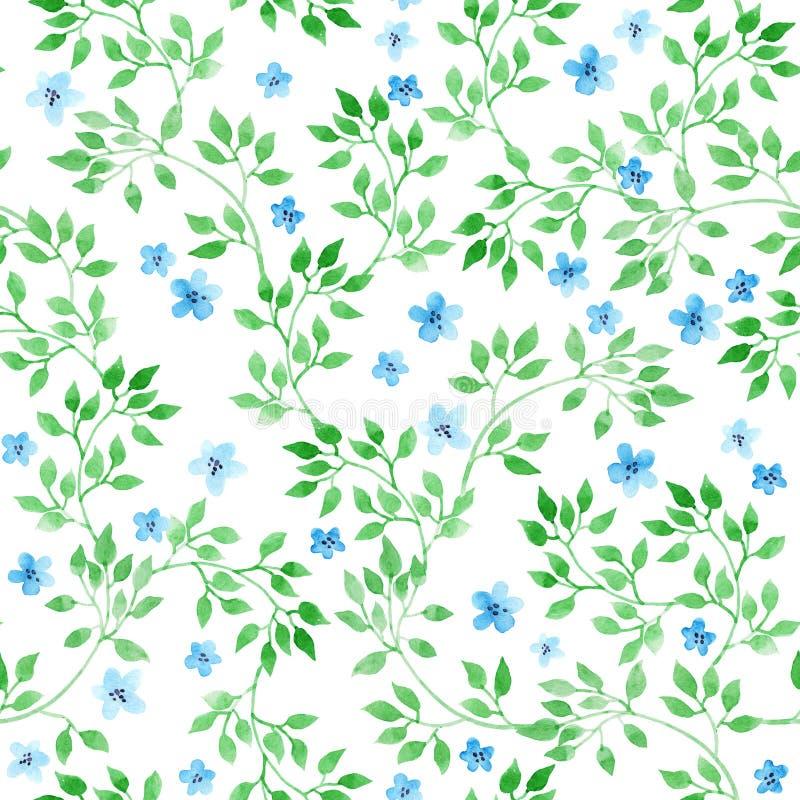 逗人喜爱的ditsy花、草本和草 无缝的模式 水彩 库存例证