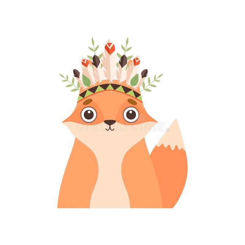 逗人喜爱的Fox动物头戴与羽毛的印度传统部族头饰和植物导航例证 皇族释放例证