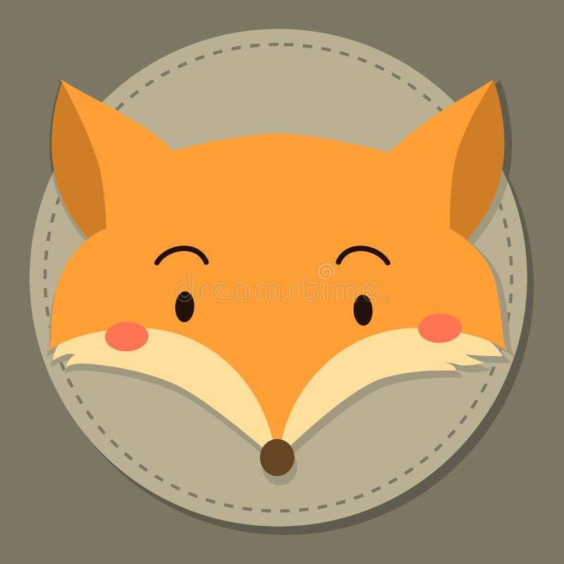 逗人喜爱的Fox头动画片 皇族释放例证