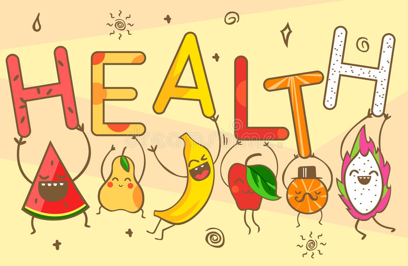 逗人喜爱的kawaii动画片果子运载健康字法 健康食品:西瓜,香蕉,普通话,苹果,菠萝,柠檬, p 库存例证