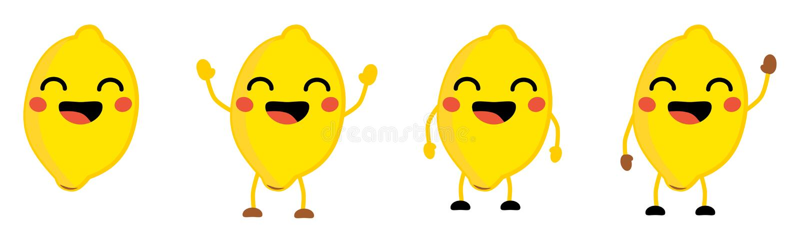 逗人喜爱的kawaii样式柠檬果子象,眼睛关闭了,微笑与开放嘴 版本用手被举的,下来和挥动 皇族释放例证
