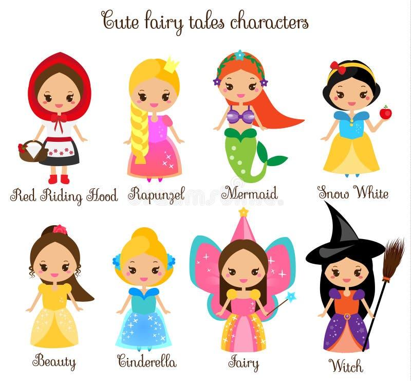 逗人喜爱的kawaii童话字符 雪白,红色骑马兜帽、rapunzel、灰姑娘和其他公主美丽的礼服的 汽车 皇族释放例证