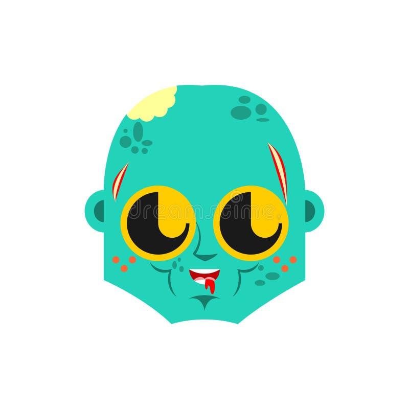 逗人喜爱的kawaii蛇神面孔 滑稽的生存死的动画片样式 不死孩子字符 儿童的样式 向量例证