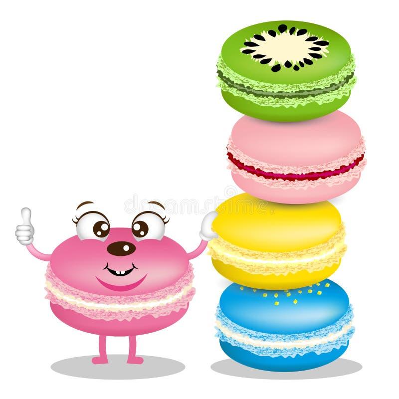 逗人喜爱的macarons动画片 向量例证