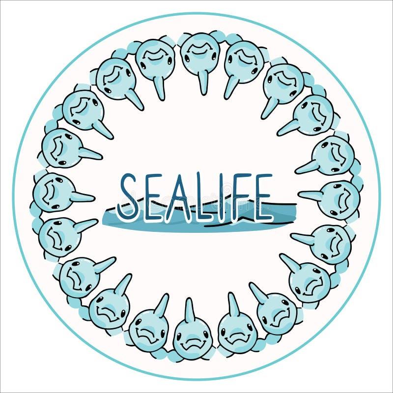 逗人喜爱的sealife海豚徽章动画片传染媒介例证主题集合 手拉的被隔绝的水下的动物区系,海豚按钮元素 库存例证