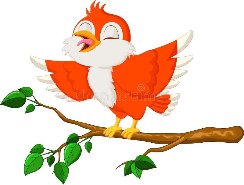 逗人喜爱红色鸟唱歌 向量例证