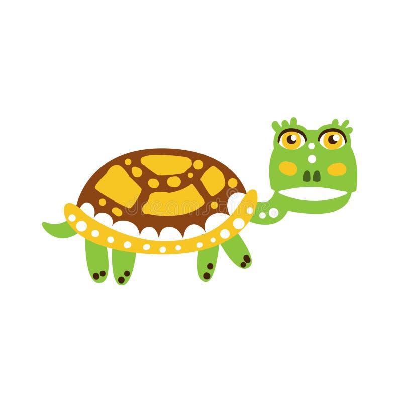 逗人喜爱绿海龟字符走 库存例证