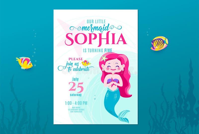 逗人喜爱美人鱼的生日邀请小公主的卡片设计 孩子党周年 海水下的邀请 向量例证