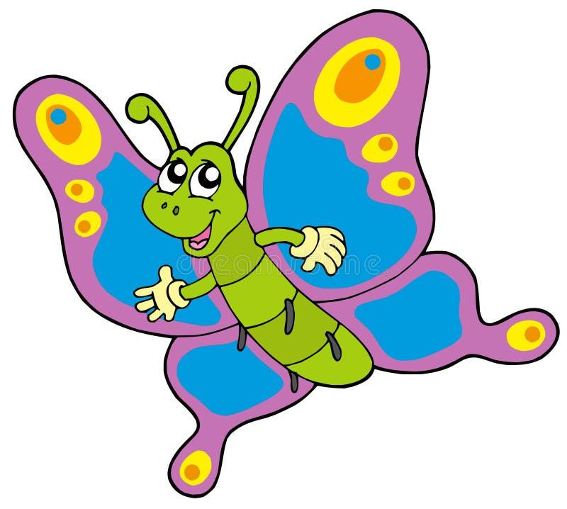 逗人喜爱蝴蝶的动画片 向量例证