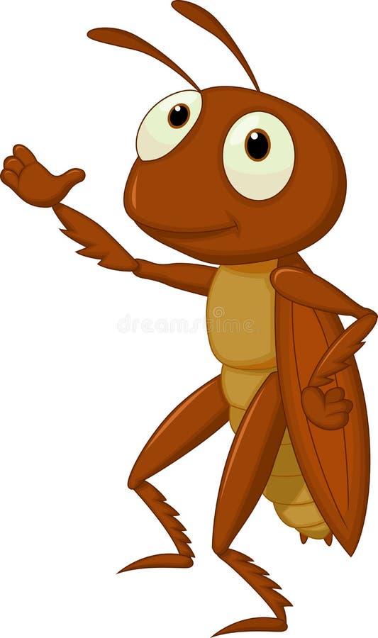 逗人喜爱蟋蟀动画片提出 库存例证