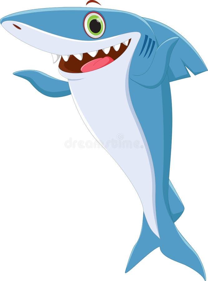 逗人喜爱鲨鱼动画片摆在 库存例证
