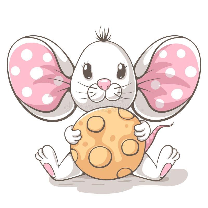 逗人喜爱,滑稽, tedy老鼠漫画人物 印刷品T恤杉的想法 向量例证