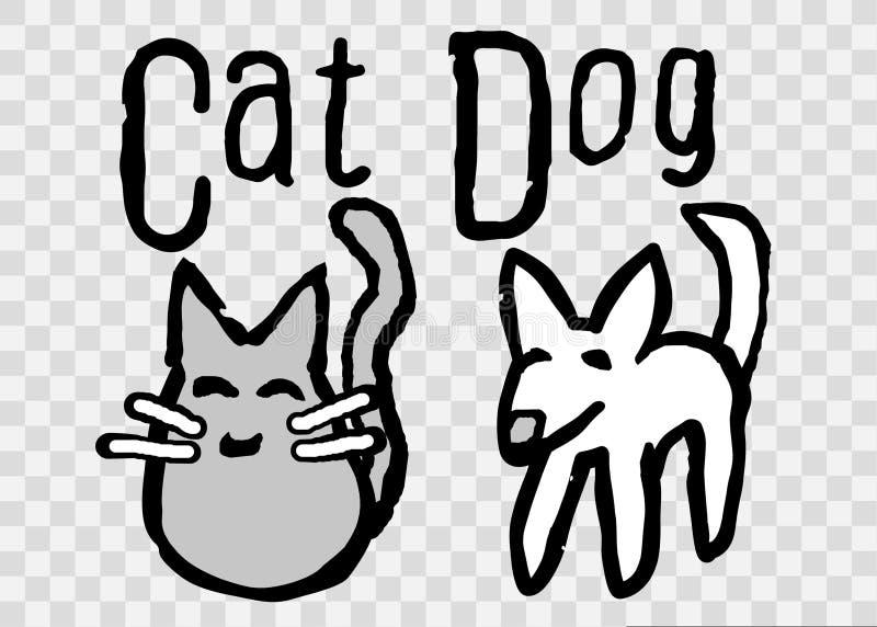 逗人喜爱,简单的猫和狗动画片例证 库存例证