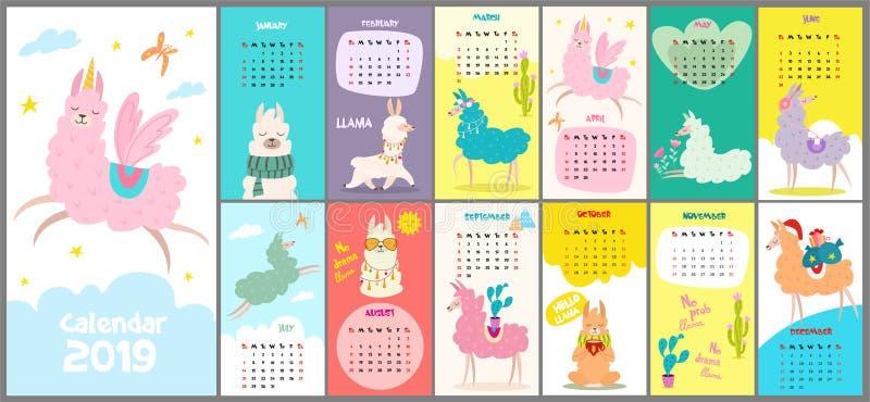 逗人喜爱,风格化手拉的月度日历在2019年与喇嘛 能为横幅、海报、卡片,明信片和可印使用 皇族释放例证