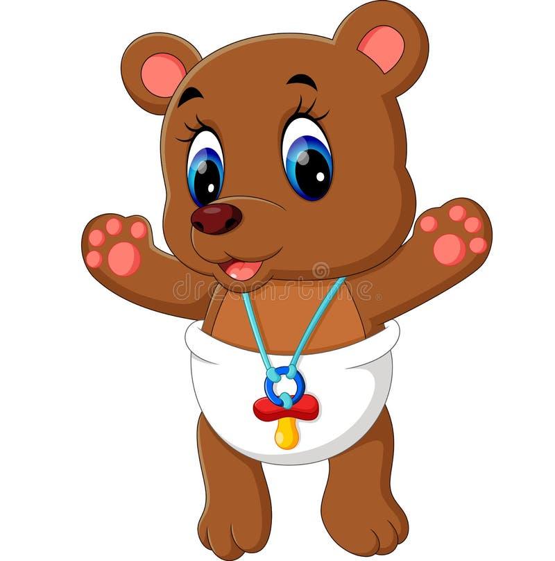 逗人喜爱婴孩的熊 向量例证