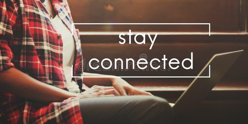 逗留分享社会概念的被连接的交互式网络 免版税库存照片