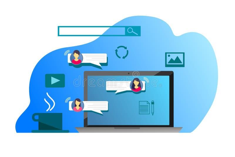 通信、保护在一个网上论坛和互联网聊天的概念 闲谈女孩 库存例证