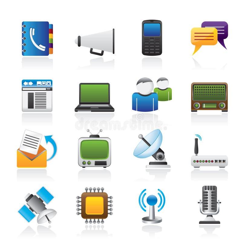 通信、连接数和技术图标 向量例证