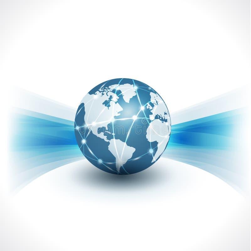 通信世界&技术企业流程行动孤立白色背景, &例证 库存例证