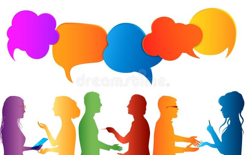 通信人 r 色的云彩 在社会媒介的谈话 在不同的人民之间的对话 ??c 库存图片
